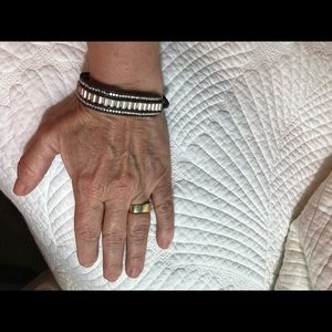 Lucky brand silver & leather wrap bracelet